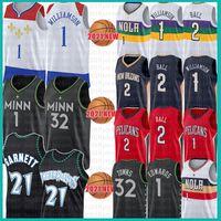 Minnesota Timberwolves New Orleans Pelicans Kevin Zion 1 32 Karl-Anthony Garnett 21 Williamson Towns Basketball Jersey Anthony 2 Lonzo Edwards Ball 2021 New retro mesh jerseys