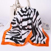 Шарфы мода шелковый Sauqre шарф женские напечатанные зебры животные футлярские квадратные оболочки навязки 2021 капель