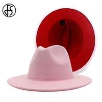 FS 60 cm donna larga cappello da corn feltro fedora jazz rosa patchwork rosso patchwork panama trienda cowboy cap Elegante signora chiesa 201028