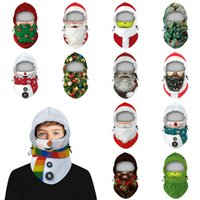 Invierno con capucha Máscara multifuncional bufanda del sombrero del muñeco de nieve patrones de máscara con el botón blanco de la manera caliente de Navidad Kid adulto árbol del sombrero de la máscara