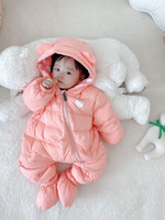Traje para la nieve del invierno del bebé Moda grueso Niños niños del mono recién nacido del mameluco de los bebés Trajes Niño 6-24month Escudo