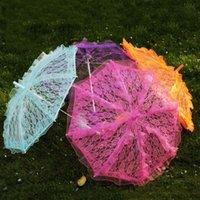 Weiße Farbe Spitze Braut Regenschirm Baumwolle Stickerei Spitze Parasol Regenschirm Hochzeitsdekoration