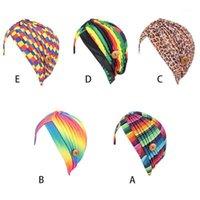 Mulheres headscarf chapéu Índia com botão máscara holer arco-íris anti-apertado beanies cap1