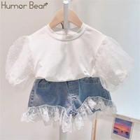 Юмор Медведь Summer Baby Girl одежда Комплекты одежды детей Bubble Sleeve Top + Lace Строчка Denim шорты 2шт малышей Наряды X0923