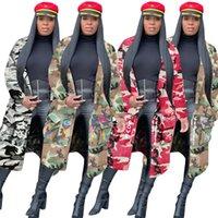 Femmes Denim Veste Manteau Trench-Manteaux Vêtements d'extérieur Automne Hiver Long Cap Cap Top Manteaux Camouflage Femme S Vêtements KLW5443