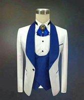Yeni Yakışıklı Şal Yaka Groomsmen Bir Düğme Damat smokin Erkekler Suits Düğün / Gelinlik / Akşam Sağdıç Blazer (Ceket + Pantolon + Kravat + Yelek) 774