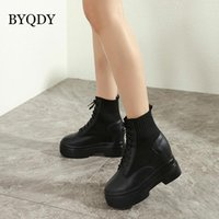 BYQDY 2021 Combate Botas Moda Botas Mulheres Chunky Exército Lace Up Autumn Grosso Sole Platform Ladies