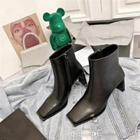New autumn winter classic leather ankle boot, square head fl...