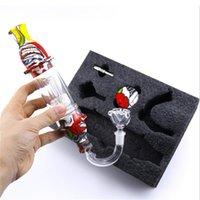 다채로운 등대 Dab 밀짚 키트 흡연 파이프 10mm 네일 유리 부착 컬렉터 실리콘 컨테이너 콤보 키트 vape 왁스