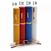 Tubo de lectura unisex gafas de presbicia con color al azar de metal caja de cristal mujeres de los hombres de Eyewear portable cómodo