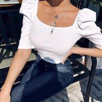 المرأة t-shirt المرأة المتناثرة ضئيلة خمر عارضة الصيف فقاعة خمس نقاط كم الزى مثير الأزياء تيز روبا دي موهير قمم 20211