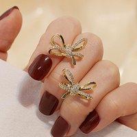 Trendy requintado bling geometria bowknot brincos para mulheres designer jóias de luxo de alta qualidade zircão s925 presente de agulha