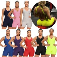 Solide Womens Sports Strampler Design Shorts Outfits Sleeveless Backless Sexy Fitness Workout Yoga Bodysuits Overall Stretch Sportswear F92804