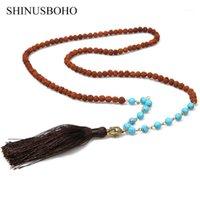 Colares Pingente Shinus Boho Rudraksha Beads Religioso Buda Cabeça Longo Borla Pingentes Colar Handmade Prayer Meditation 20211