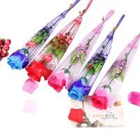 Kreative LED leuchten künstliche gefälschte Rosensimulation dekorative Blumen für Valentinstag Mädchen Geschenk Bouquet Mul-Farben EEB4264