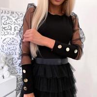 Kadın omuz örgü kollu gömlek ince dip düğmeleri bluz manşet siyah ve beyaz tops 2020 yaz seksi o-boyun gömlek