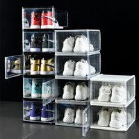 Épaisseur Boîte à chaussures en plastique Clear Sport Sport Sport Boîte de rangement Flip Boîtiers de baskets transparents Boîtier de démarrage empilable Boîte Noir Gris Blanc