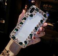 Lüks Elmas Bling Telefon Kılıfları Tam Protevtion Temizle Geri Rhinestone Tampon Iphone 7 için Kapakları 8plus XR X 11 12 Pro