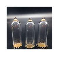 10sets 50 мм высотой 18 мм ширина прозрачный стеклянный глобус бронзовый покрытый кружевной лоток 8 мм шапки шапки DIY стеклянные флаконы кулон ювелирные изделия JLLXIQ