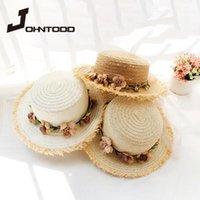 Ebeveyn-çocuk güneş şapka büyük brim şapka brim plaj el yapımı çiçek saman kız güneş yaz kadın gelgit geniş kap1