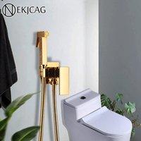 Gold Messing Badezimmer Bidet Wasserhahn Rose Gold Hochdruck Bidet Sprayer Hohe Qualität Toilette Waschmaschine Bidet Wandmontiert Kaltarmatur T200710