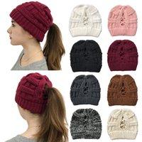 16Styes Criss Cross Beanies Fille d'hiver Bonneterie Chapeaux Femmes Croix Bonnet Ponytail Casquettes Beanies Crochet extérieur Chapeau de fête GGA3764
