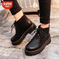 Женщины зимние сапоги натуральные кожаные ботинки платформы черные ботинки ботинок мотоцикла толстые пятки платформы каблуки # кВт9i