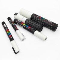 5pcs / 세트 Uni Postca 페인트 펜 혼합 마크 5 각각 1 펜 PC-1M / 3M / 5M / 8K / 17K 페인팅 팝 포스터 광고 펜 201203
