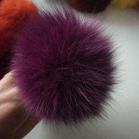 9см Природа Genuine Fur Ball Pom Pom Пушистого DIY Winter Hat Skullies Шапочка вязаная шапочка помпоны TWF002-фиолетовый