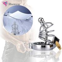 Novo gaiola de aço inoxidável stealth lock de aço de castidade masculina com cateter uretral galo gaiola cinto pênis anel