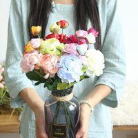 Fake Lotus Flowers Peony Flores artificiales Ramo de otoño Invierno Rosa Rosa Boda de Seda Boda Decoración del hogar1