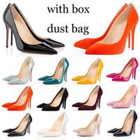 con partes inferiores del rojo del bolso de polvo caja de bombas de los altos talones de las mujeres calientes de la parte inferior de los zapatos ocasionales de la boda de la vendimia triples negros peep toes puntiagudos picos de vestir