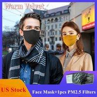 ABD STOK Yetişkin Kış Yüz Maskeleri Katı Renk Anti-Dust Pamuk Sıcak Nefes Kadife Parti Maskeler Yeniden Yıkanabilir Ağız Kapak Filtresi ile