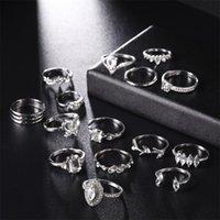 15.PCs Bohemia Band Ring Ny mönster Retro Fashion Plated Silver Crystal Kvinnor Ringar Ornaments Bröllop Europa och Amerika 3 5YC K2B