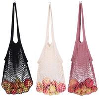 Özel Amaçlı Çantalar Pamuk Mesh Net Dize Alışveriş Çantası Yeniden kullanılabilir Katlanabilir Meyve Depolama Çanta Totes Kadınlar Alışveriş Mesh Net Bakkal