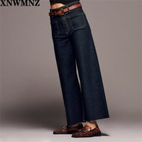 Xnwmnz za женщины мода премиум патч карманные морские прямые джинсы дамы винтажные джинсы высокой талии женские брюки девочек 201223