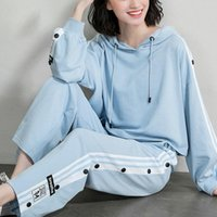 2020 autumn new sports suit women' s fashion hooded wide...