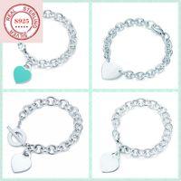 925 pulseira de prata esterlina em forma de coração, estilo clássico não desaparece, enviar namoradas presente de feriado lj201020