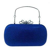 Daiwei mulheres sacos de couro bolsa de noite arco (s) de cristal detalhamento para evento de casamento / partido real azul roxo vermelho prata blac1