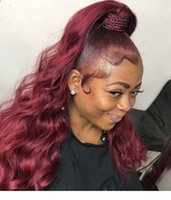 Rihanna Cutícula Alineada Raw Cuerpo Virginal Onda Borgoña Rojo Pony Tail Pieza de pelo Para Mujeres Negras Chic Sorteo Pelo Humano Panalle