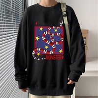 Vintage Elegante Homens Moletom Alta Qualidade Algodão Cozy Cozy Sweatshirts 20SS Mens Mens Outono Inverno Serpente Monstro Imprimir Camisas De Monstro Camisas
