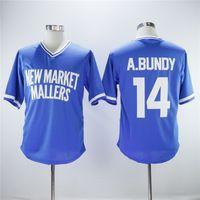 New Market Mallers 14 Al Bundy Baseball Jersey Hommes Pull bleu Respirant broderie couleur de l'équipe de base Cool et couture pur coton Vente chaude