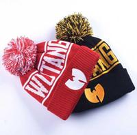 Lettera di alta qualità inverno wutang lettera cappello clan musice beanie skullies maglia donne wu tang cappello hiphop caldo cappelli pompom cappelli spedizione gratuita
