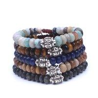 Disc Shape Stone with Six words mantra metal beads String Adjustable Bracelet men,women bracelet meditation spiritual jewelry
