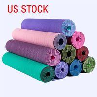 USA Stock-freies Verschiffen Neue 1Pc 6mm Dicke Yoga-Matte Anti-Rutsch-Pad Übung Gesundheit Gewicht verlieren Fitness Durable Mats FY6018