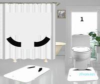 Padrões de carta branca de cortina de estilo popular impressão sala de janela cortina de moda para sala de chuveiro com esteira de cobertura de almofada de assento de toalete