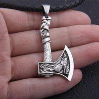 Dropshipping Antik Gümüş Viking Kurt ve Odin Kuzgun Balta Kolye Kolye Doğum Günü Hediyesi Olarak