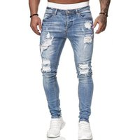 New Fashion High Street Casual Calças Jeans Mens Magro apertado Buraco Denim Pants Streetwear Hip Hop Ripped Skinny Jeans