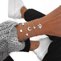 Europäische und amerikanische Böhmen Armbänder Mode Straße Stil Multi-Layer Armbänder Set Einfache Silber Überzogene Liebe Mond Armband Frauen