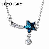 Cadenas Toyoosky 925 Sterling Silver Collar de meteorito hembra azul cristal estrella párrafo corto cadena de cinco puntas joyería
